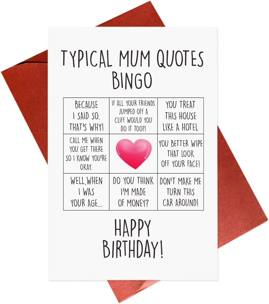 Funny Mum Birthday Card,Mom Birthday Cards,Typical Mother Quotes Bingo