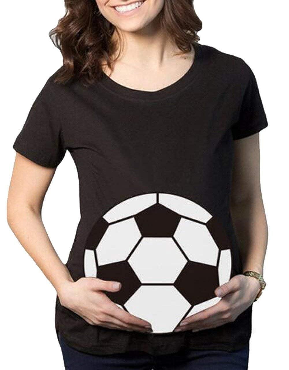 106c6ba1f0649 Amazon.com: naivety Womens Maternity Football Printed Shirt Summer Short  Sleeve Round Neck T-Shirt Tee: Clothing