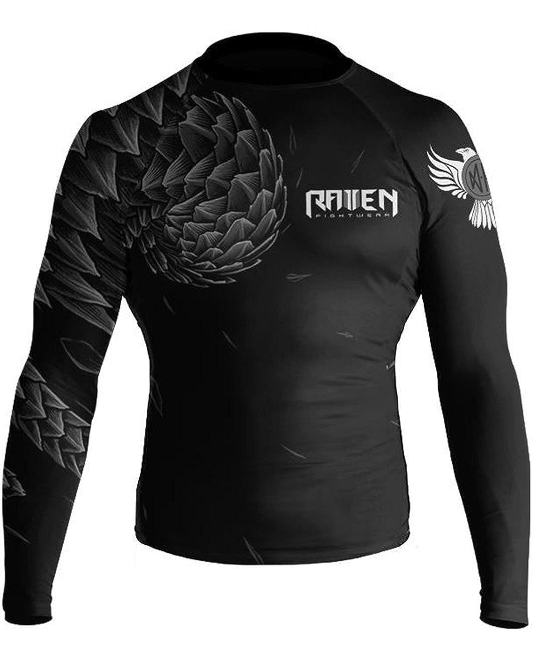 Raven Fightwear Mens Power Pangolin IBJJF Approved Rash Guard White//Blue//Purple//Brown//Black RF123
