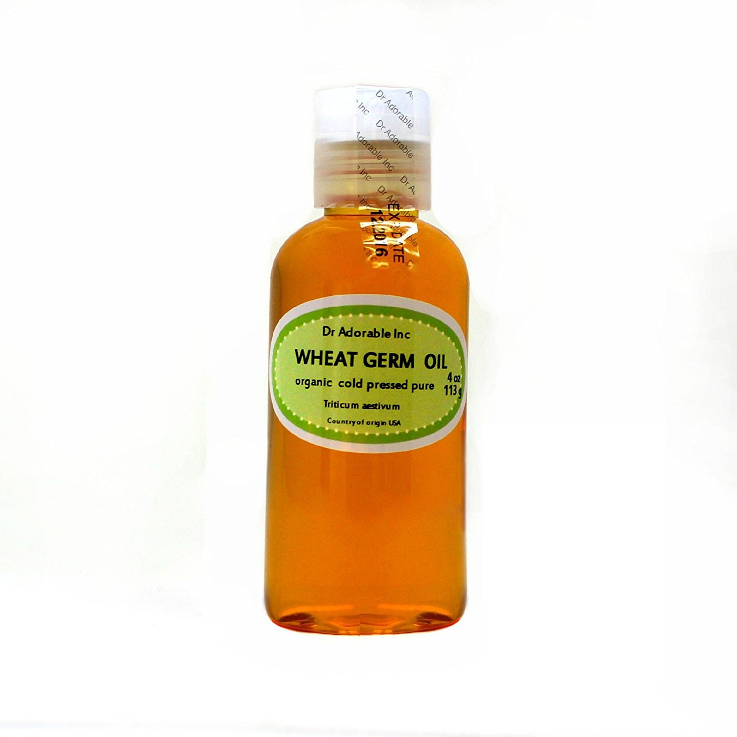 Wheat Germ Oil Unrefined Cold Pressed Organic Pure by Dr.Adorable 4 Oz
