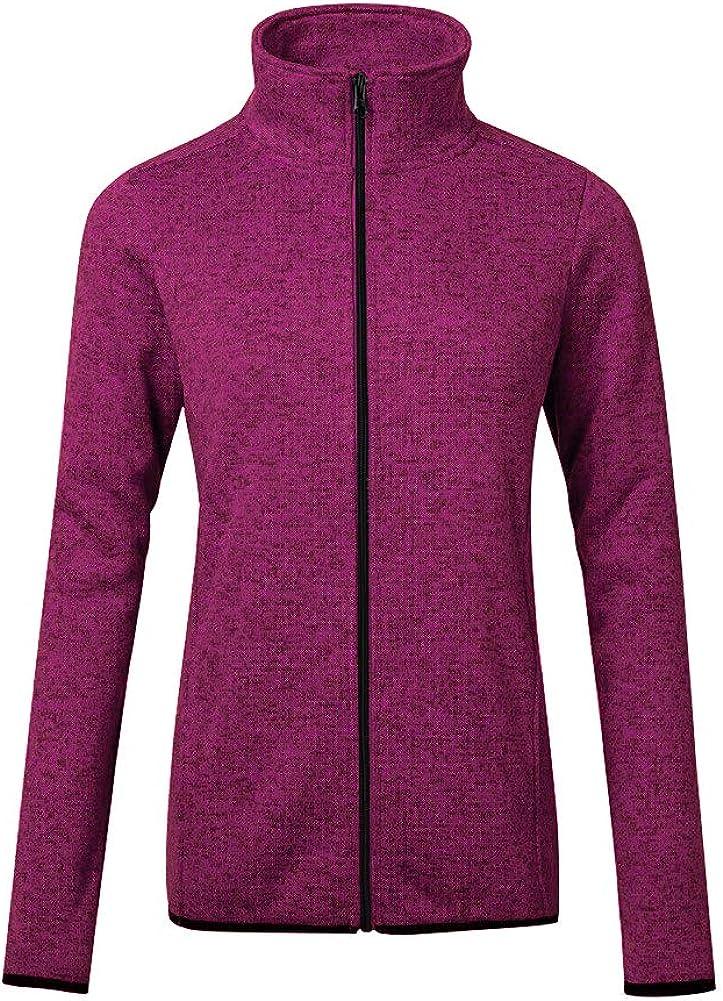 Dolcevida Women/'s Long Sleeve Sweater Fleece Zip Up Speckled Jacket with Pockets