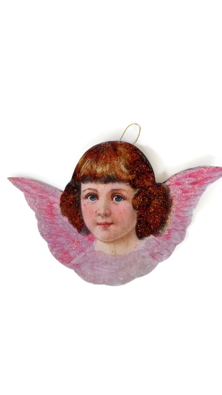 Angel Christmas Tree Ornament Decoration Beautiful Victorian Pink Wings Holiday Gift