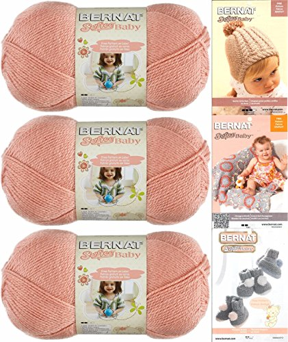 Bernat Softee Baby Yarn 3 Pack Bundle Includes 3 Patterns DK Light Worsted (Soft Peach) (Bernat Crochet Patterns)