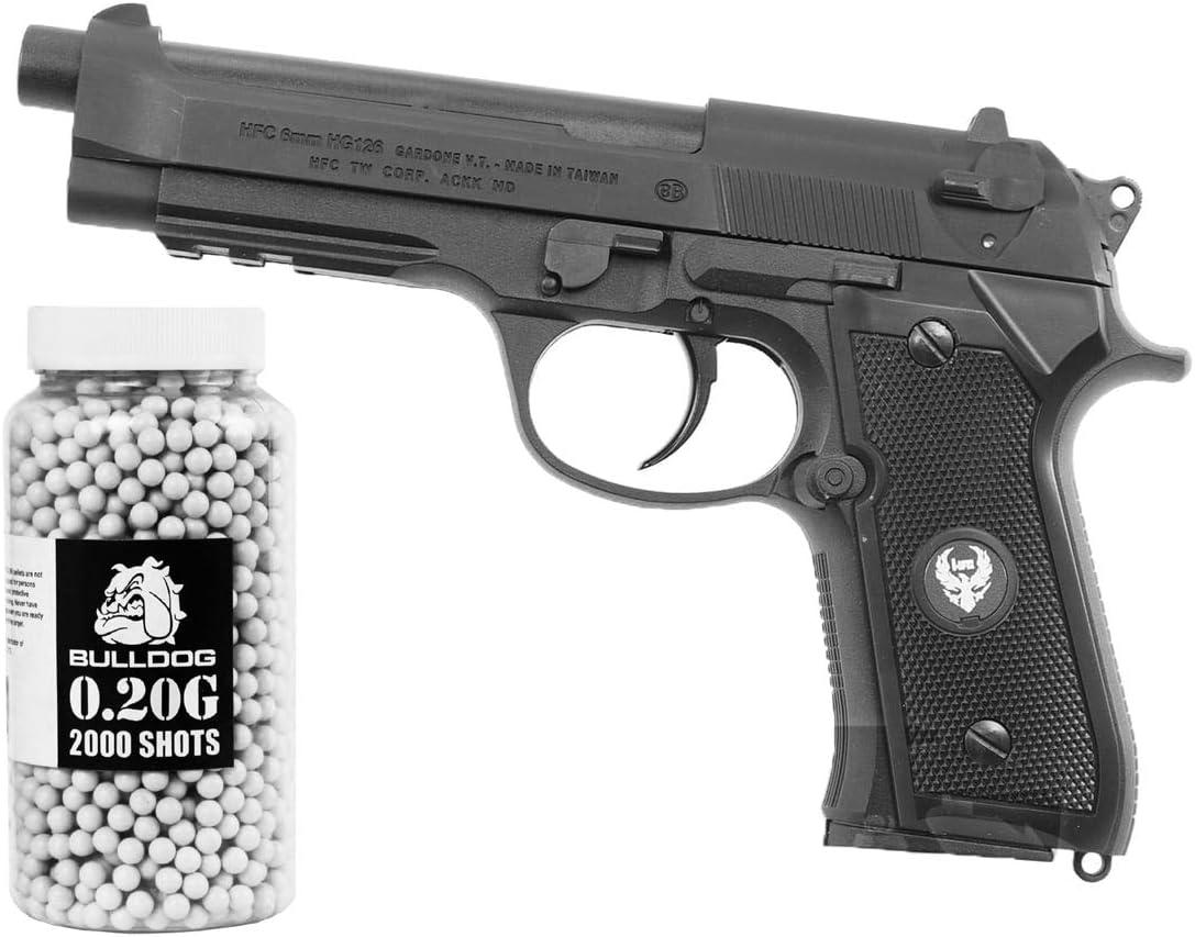 HFC 5STARSHOP Pistola de Gas M9 Airsoft con 6 mm Bulldog 0.20g 2000 Bolitas de BB Blancas