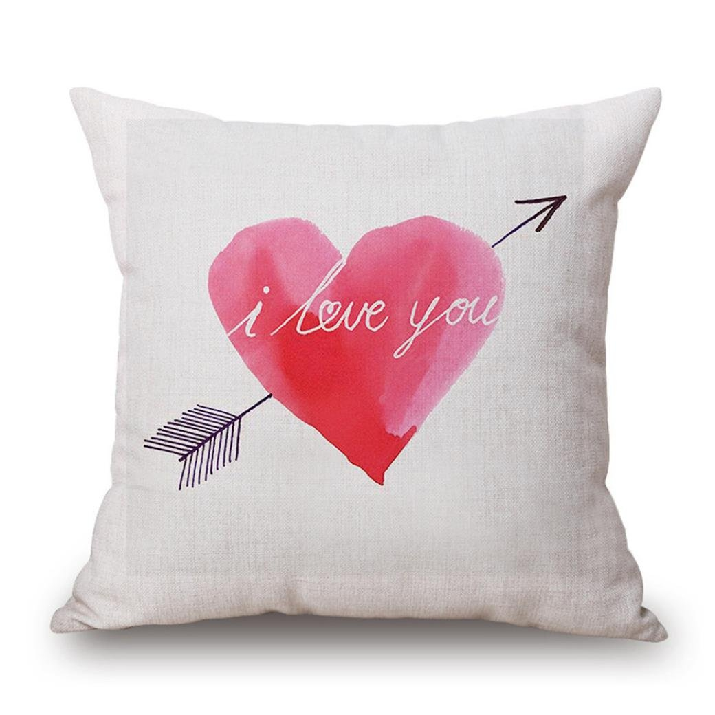 Tuscom Painting Sweet Heart Cushion Cover Pillow Case , Gift for Valentine's Day,Cotton Linen,18x18'' (C)
