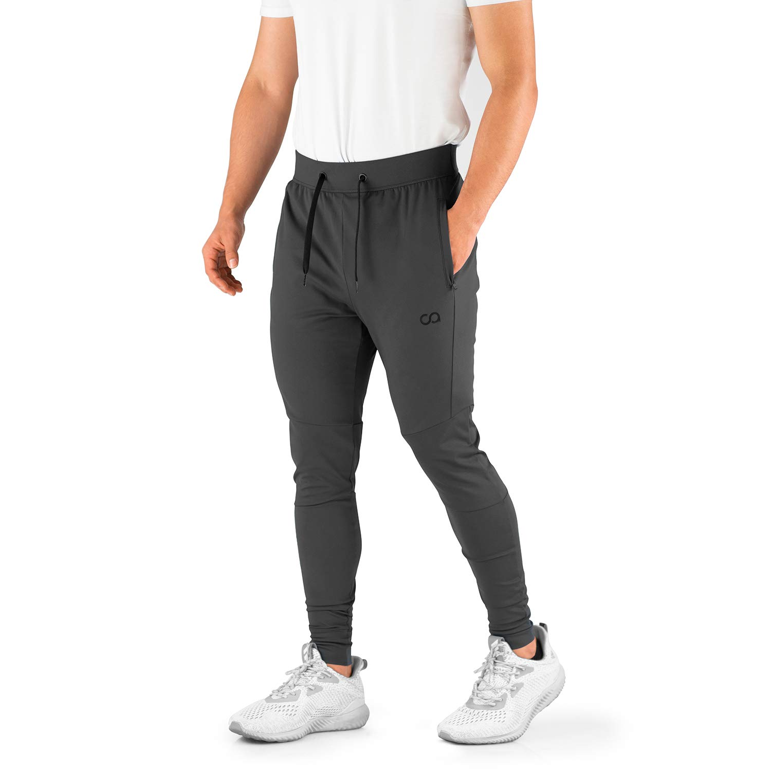 Contour Athletics Men's Joggers (HydraFit) Track Pants Sports Workout Sweatpants with Zipper and Back Pockets CA0003-SG Grey