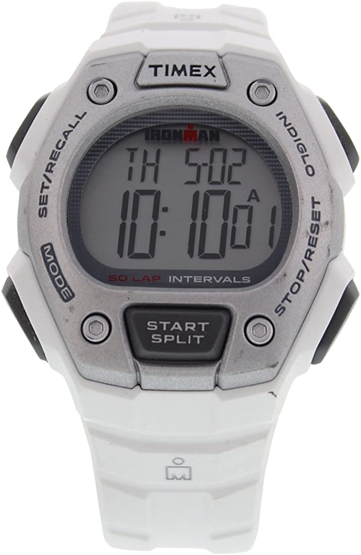 Timex Mens TW5K88100 Ironman Classic Mid Size 30 Lap White Resin Strap Watch