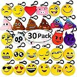 Aitey Emoji Keychain Mini Plush Pillows, Halloween decoration Party Supplies, Emojis Birthday Party Favors for Kids Bulk Toys for Carnival Prizes,2'' Set of 30