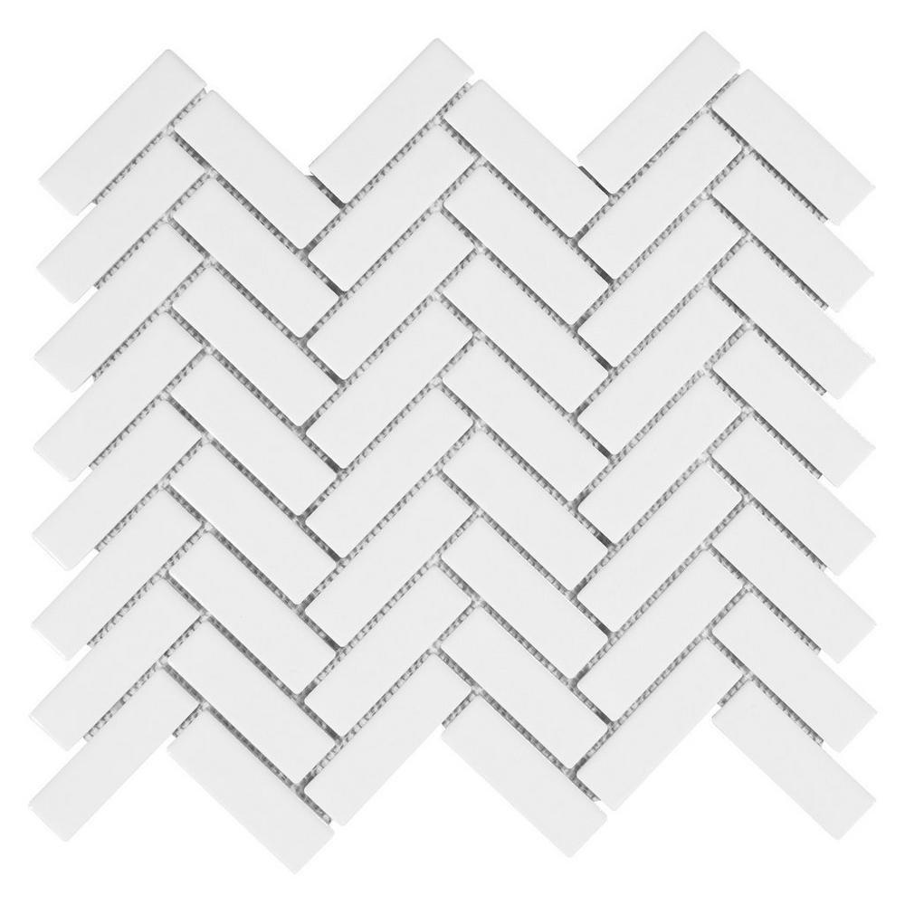 White Porcelain Herringbone Gloss Finish Mosaic 1'' X 3'' (Box of 10 Sheets), Wall Tile, Backsplash Tile, Bathroom Tile on 12x12 Mesh for Easy Installation by Vogue Tile