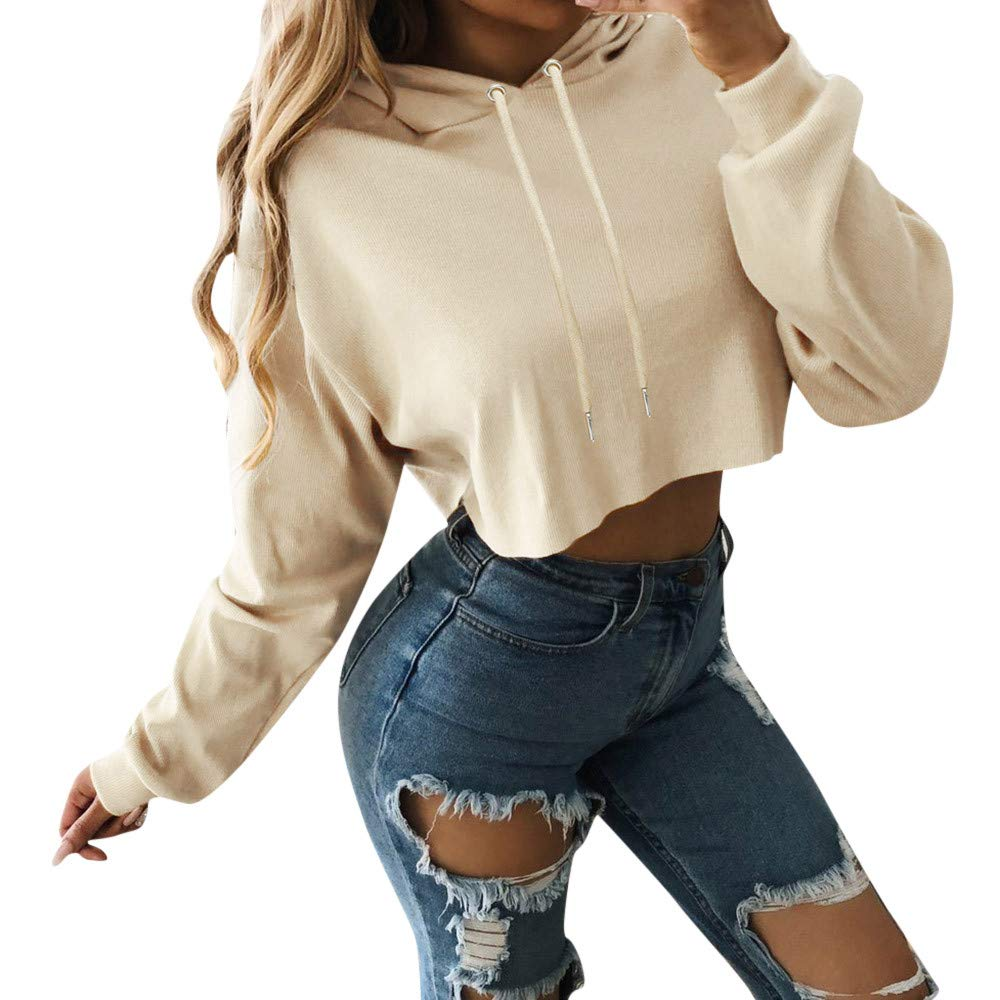 Women Blouse, Farjing Solid Color Navel Short Hooded Long Sleeve Sports Thin Blouse(M,Beige)