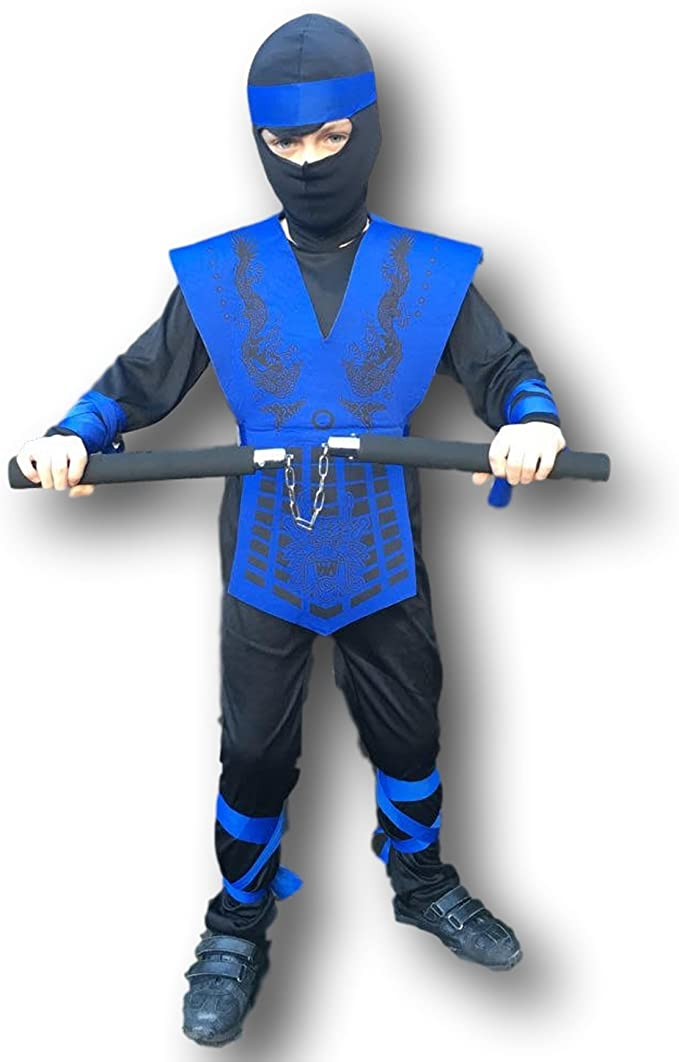 Rubber Johnnies Kids Shadow Ninja Costume, Mortal Zero Combat, Dragon, Costume, GI, 3 Sizes