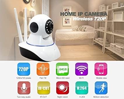 Generic Wifi Home Ip Camera Long Range (Version 2017) 360 Degree Move  Wireless (2, Dual Antenna) Wifi Ip Smart Onvif Camera(Running With Yoosee  app)