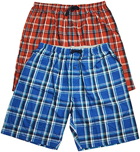 Hanes - Mens 2 Pack Cotton Blend Woven Plaid Lounge Pajama Sleep Short, Blue, Red 41202-X-LargeTall