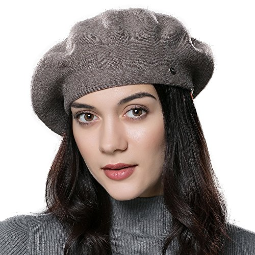 ENJOYFUR French Style Beret Hats,Wool Knit Solid Color Womens Berets,Lightweight Casual Soft Classic Beret Hats for Women