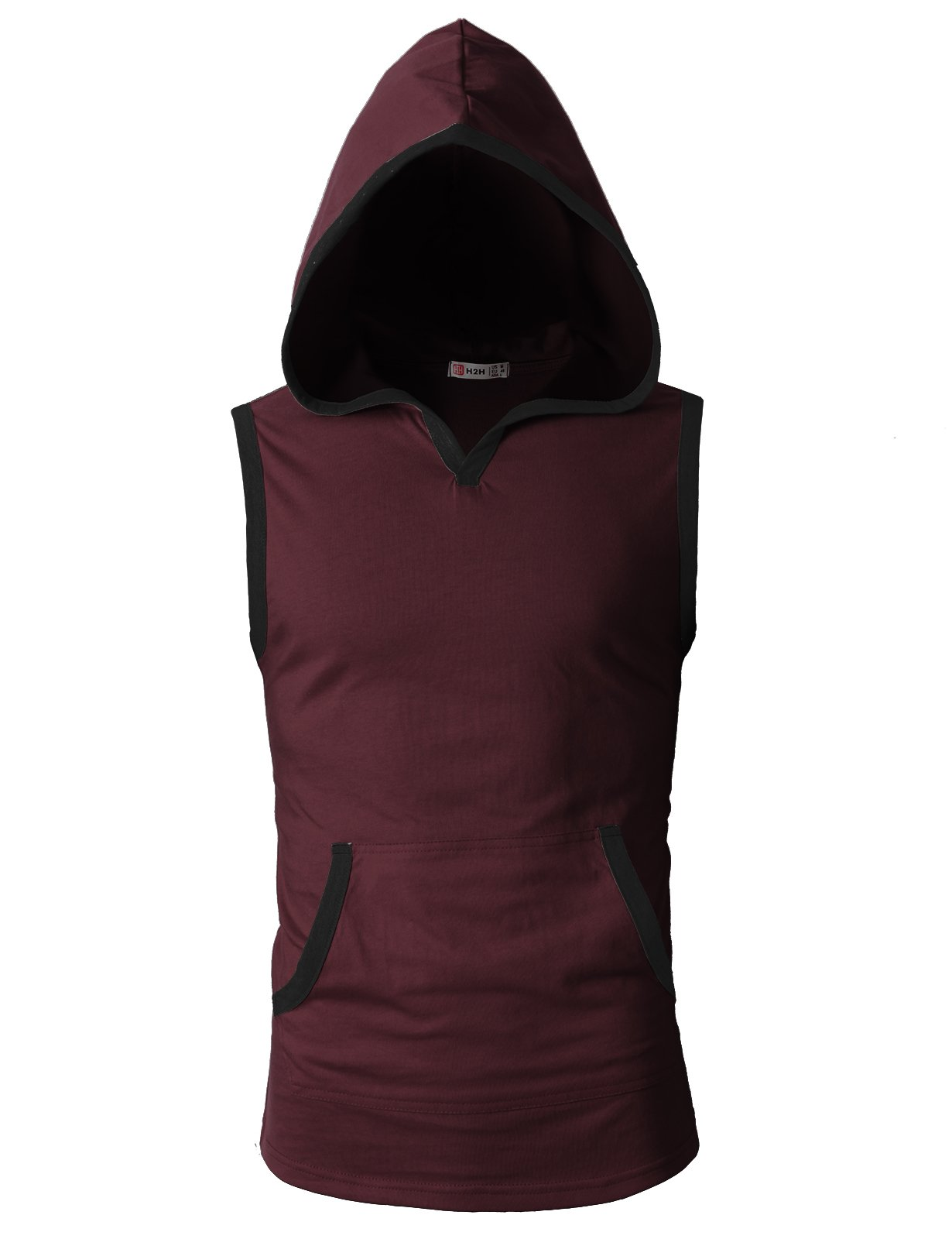 H2H Mens Slim Fit Sleeveless Lightweight Tank Tops with Hoodie Wine US S/Asia M (CMTTK015)