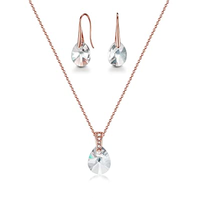 fca1d7881 Mestige Women's Rose Gold Drop with Swarovski Crystals Jewelry Set -  MSSE3212