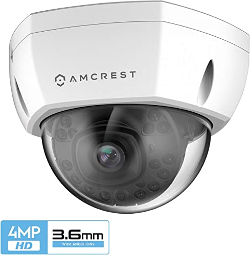 Amcrest UltraHD Outdoor 4-Megapixel PoE Vandal Dome IP Security Camera, 3.6mm Lens, IP67 Weatherproof, MicroSD Storage, IK10 Vandal-Proof, IP4M-1028EW-36MM White