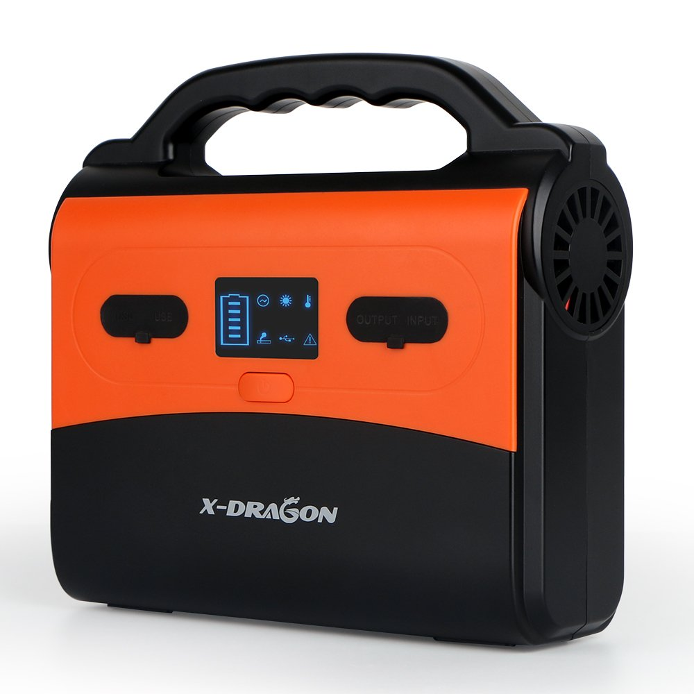Portable Power Station X-DRAGON 145Wh 39000mAh Camping Generator Emergency Backup Lithium Battery with Power Supply Inverter CPAP Battery Pack Dual 110V AC 3 12V DC Ports, USB Ports, Flashlight Travel