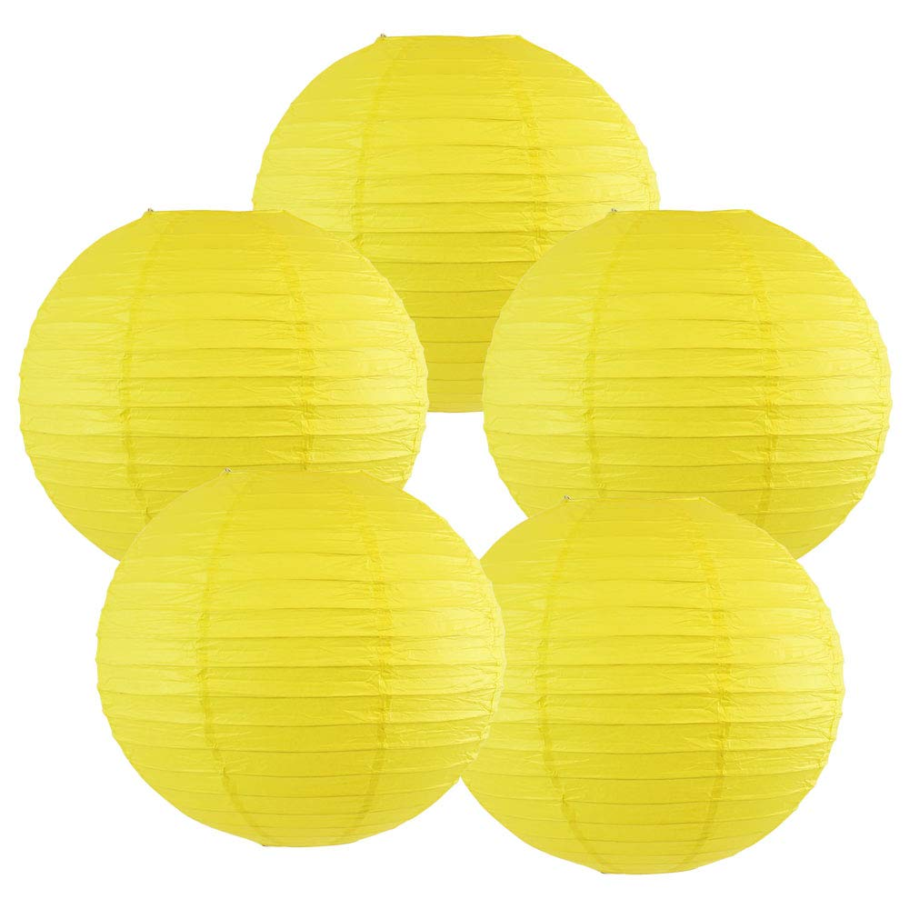 Just Artifacts 10-Inch Lemon Yellow Chinese Japanese Paper Lanterns Set of 5, Lemon Yellow
