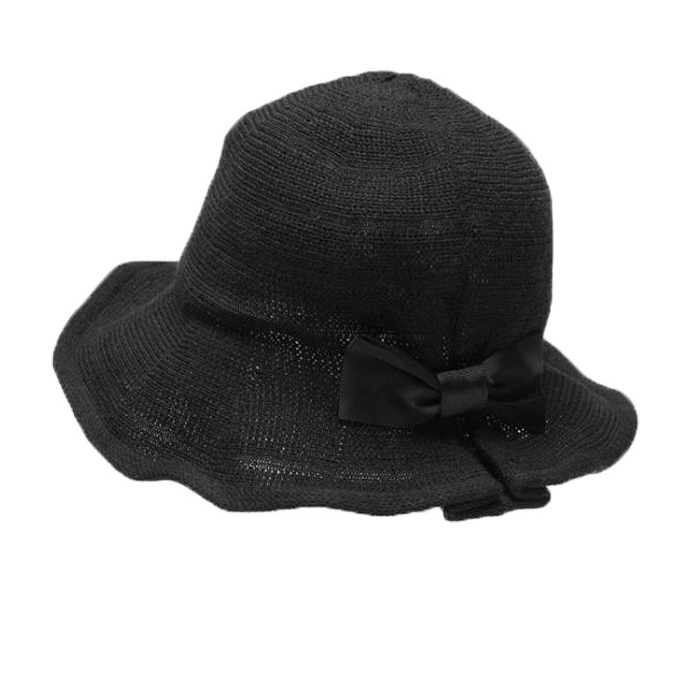 PT FASHIONS Women Sun Hat Adjustable Summer Beach UPF 50+ Bucket Hat Foldable Bowknot Hat Women Kids-Wblack