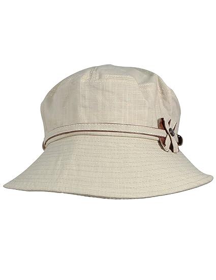 6ff27a6fcb56c Dahlia Women s Summer Sun Hat - Safari Bow Button Foldable Bucket Hat - Tan  at Amazon Women s Clothing store