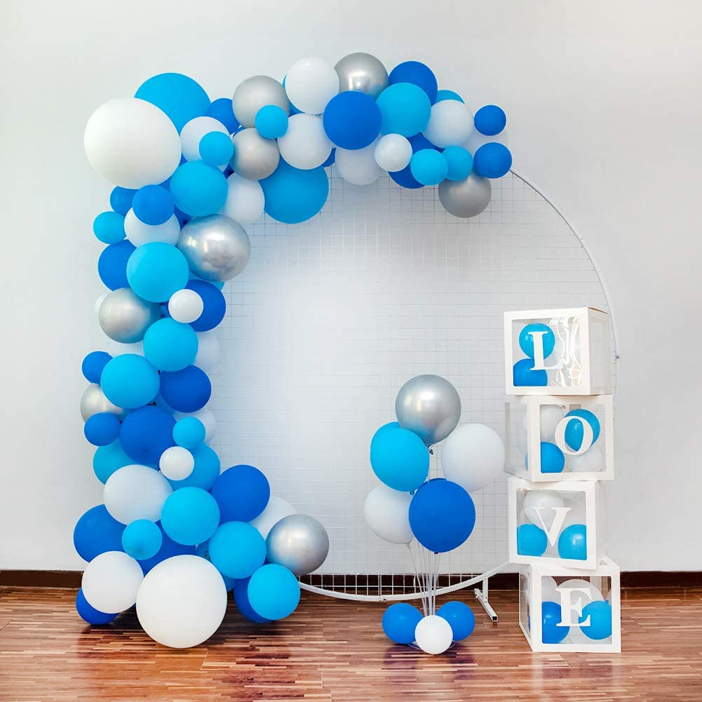 Blue Balloon Arch&Garland Kit,115 PCS 10in 12in 18in Blue White Silver Balloons with 4PCS Balloon Decorating Kit for Boy Baby Shower, Birthday, Under the Sea, Shark or Fish Party Decorations Supplies