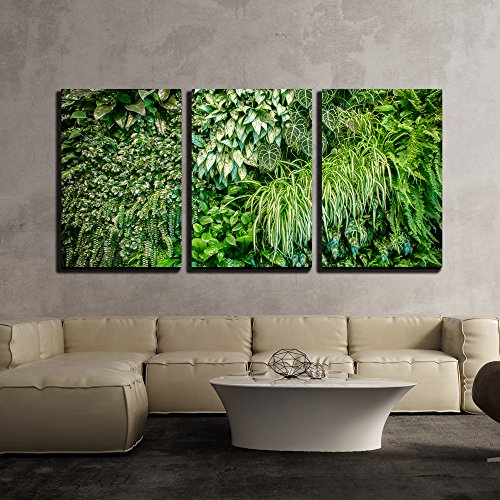wall26 - 3 Piece Canvas Wall Art - Green Leaf Wall Texture Background - Modern Home Decor Stretched and Framed Ready to Hang - 24