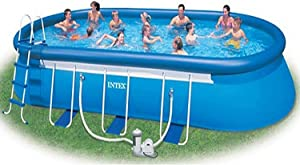 Intex 24' x 12' x 48'' Oval Ellipse Easy Frame Pool Set - Filter Pump & Hoses Not Included