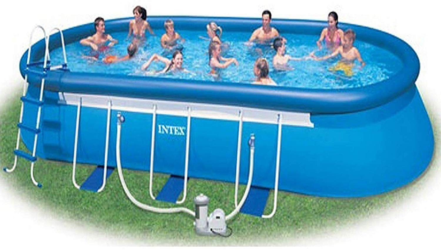 Intex 24' x 12' x 48'' Oval Ellipse Easy Frame Pool Set - Filter Pump & Hoses Not Included by Intex (Image #1)