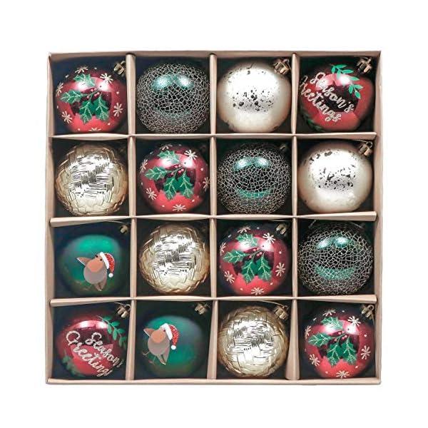 Valery Madelyn Palle di Natale 16 Pezzi 8 cm Palline di Natale, Strada di Campagna Rosso Verde e Oro Infrangibile Ornamenti Palla di Natale Decorazione per Albero di Natale Decor 1 spesavip
