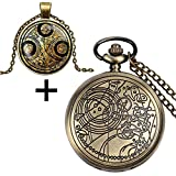 YISUYA Vintage Bronze Doctor Who Retro Dr Who Pocket Watch with Chain Mens Boys Necklace Pendant Gift Box Bild 1