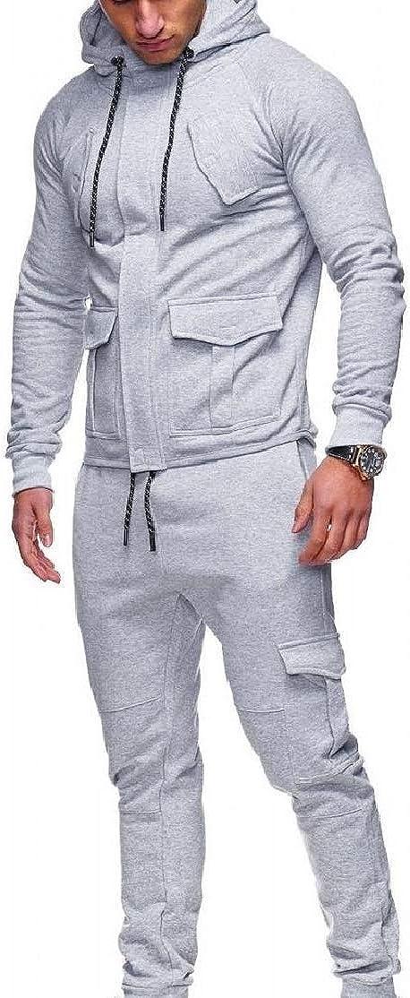 Comaba Men Drawstring Slim-Tapered Solid Baggy Pocket Sweatsuit Set