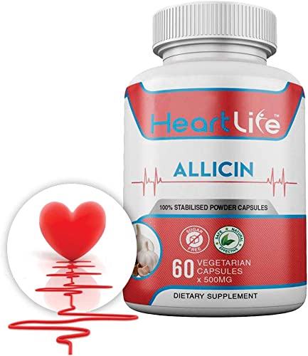 HeartLife - Health - Wellness - 100 Natural Allicin Supplement - High Blood Pressure, Cholesterol, and Immune - 60 Vegetarian Capsules
