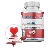 HeartLife - Health - Wellness - 100% Natural Allicin Supplement - High Blood Pressure, Cholesterol, and Immune - 60 Vegetarian Capsules