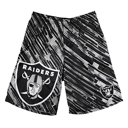 NFL Football 2015 Polyester Repeat Print Logo Mens Shorts - Pick Team (Oakland Raiders, Medium) by Klew Apparel