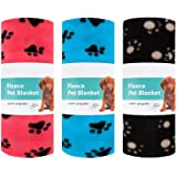 Invero® 3x Set of Pet Dog Cat Pupply Soft Warm Fleece Blanket with Paw Prints for Pet Beds, Floors, Cars, Mat and more - 120cm x 60cm