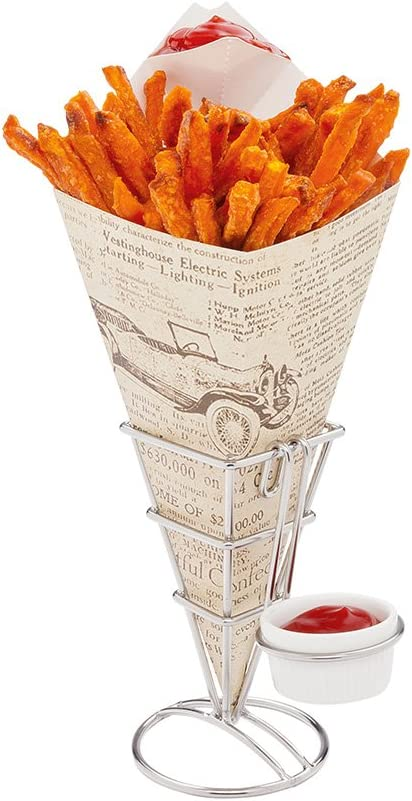 Conetek 11.5-Inch Eco-Friendly Finger Food Cones with Built-in Condiment Dipping Pocket: Perfect for Appetizers - Food-Safe Paper Cone with Newsprint Styling - Disposable and Recyclable - 100-CT
