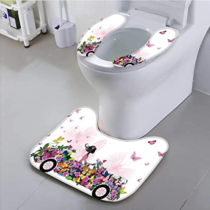Philiphome Universal Toilet Seat Woman Driving A Floral Car With Butterflies In The Air Female On