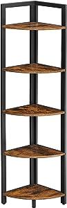 VASAGLE Corner Shelf, 5 Tier Corner Bookshelf, Tall Corner Storage Shelves, Industrial Corner Rack, Plant Stand for Living Room, Bedroom, Bathroom, Home Office, Rustic Brown and Black ULLS803B01