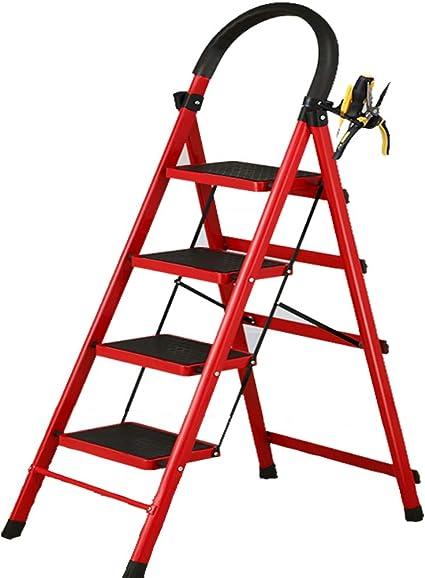 Escaleras De Taburete- Red Household Step Escalera Plegable De Taburete Espesamiento Indoor Herringbone Escalera Móvil Escalera Telescópica Escalera De Escalera Escalera Mecánica De Uso Múltiple: Amazon.es: Electrónica