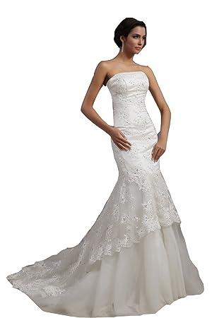 Vestido de la sirena sin tirantes de novia de encaje moderno (marfil)