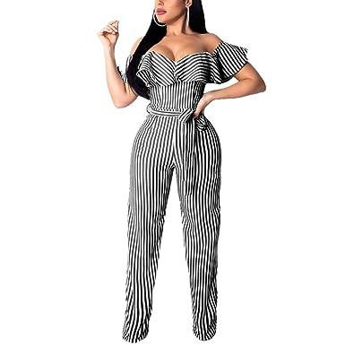 2f3778f8e78e Amazon.com  Lisa Colly Women Striped v Neck Jumpsuit Summer Sashes Short  Sleeve Wide Leg Office Jumpsuit  Clothing