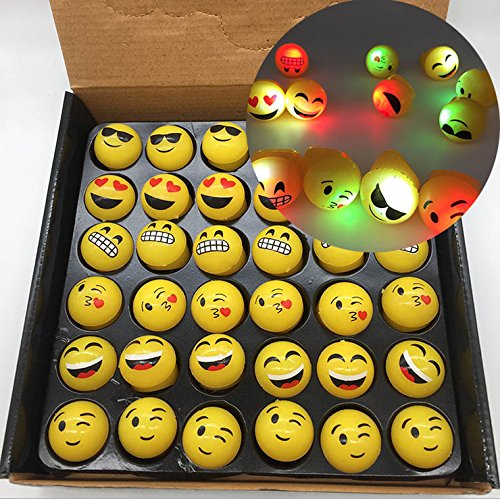 Emoji Jelly Rings - Bdwing BD03 36 pcs Flashing Glow LED Light Up Toys for Kids Party Favors, Decor Toy set Party Pack With LED Accessories