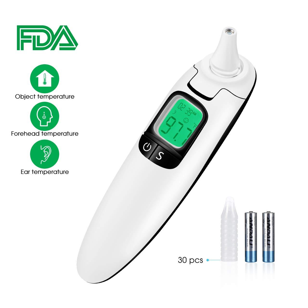 TOPELEK Termómetro Infrarrojo para Frente y Orejas,CE,FDA,RoHS,Lecturas Rápidas