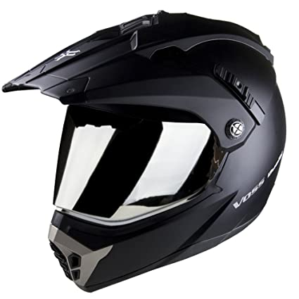 Voss 600 Dually Dual Sport Helmet with Integrated Sun Lens and Removable Peak. DOT -