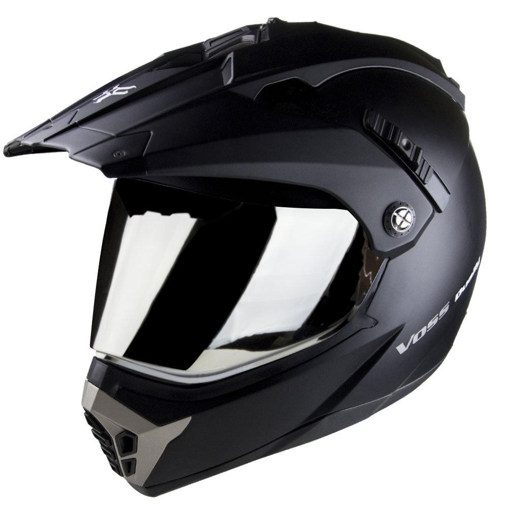 Voss 600 Dually Dual Sport Helmet with Integrated Sun Lens and Removable Peak. Chrome Outer Face Shield also Included. DOT - L - Matte Black