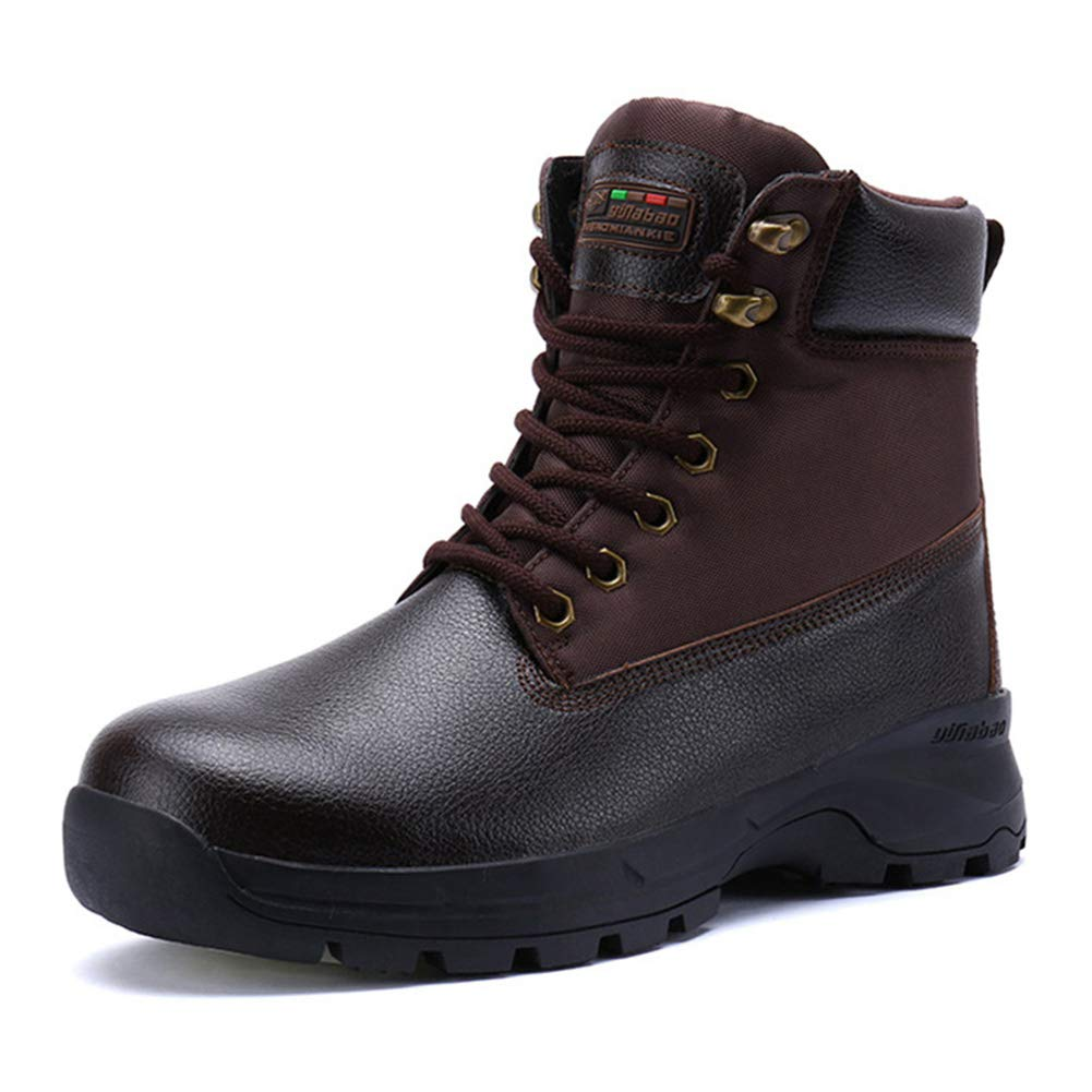 Brown JITIAN Winter Snow Boots Mens Non-Slip Military Combat Boots Waterproof Work Safety shoes Outdoor Trekking Walking shoes