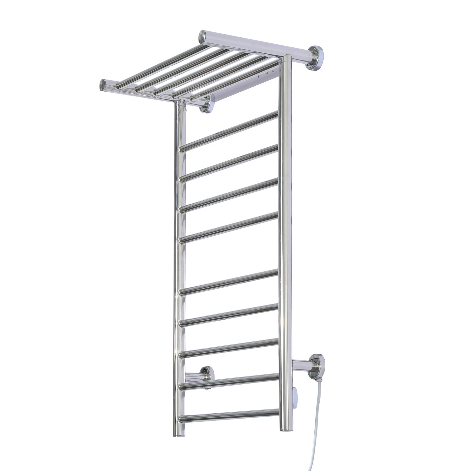 HomCom 9-Bar Stainless Steel Wall Mounted Heated Towel Warmer Rack w/ Shelf