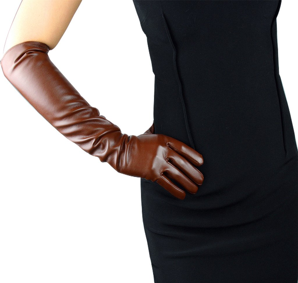 Edith qi Women's Long Evening Dress Faux Leather Elbow Length Party Gloves,Small,Brown