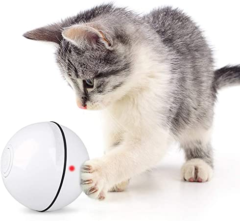 Amazon.com : Unibelin Interactive Cat Toy Ball-Smart Pet Toy Self Rotation  Rolling Ball USB Rechargeable Motion Ball Built-in LED Light with Timer  Function for Cat Kitty Exercise Chase Play(White) : Pet Supplies